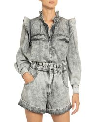 Étoile Isabel Marant - Idety Yoked Ruffle Button-down Top - Lyst
