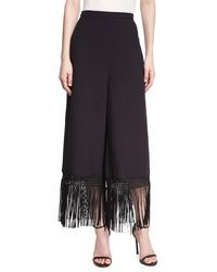 Andrew Gn | Fringed Wide-leg Crepe Pants | Lyst