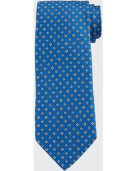 Bigi Men's Small Floral Silk Tie - Blue