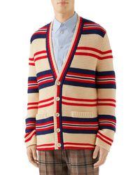 Gucci Men's Pour La Cote D'azur Striped Cardigan - Red