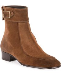 8df34310640 Men's Miles 30mm Suede Buckle Ankle Boots - Brown