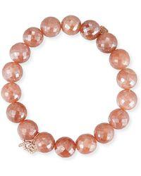 Sydney Evan - Mauve Moonstone Bead Bracelet W/ 14k Xo Charm - Lyst
