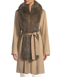 Fleurette - Wool Clutch Coat W/ Fox Fur Tuxedo - Lyst