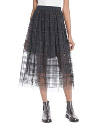 Brunello Cucinelli - Tulle Skirt In Paillette Plaid - Lyst