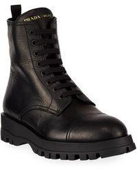 Prada Deerskin Lug-sole Lace-up Boots - Black