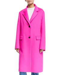 Calvin Klein - Single-breasted Two-button Angora Wool Knee-length Coat - Lyst