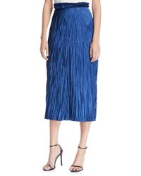 Jason Wu Pleated Satin Midi Skirt - Blue