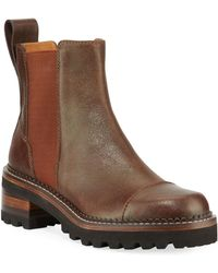 See By Chloé Leather Lug-sole Chelsea Boots - Brown