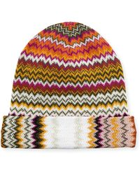 233d0c925b2 Lyst - Missoni Striped Cable-knit Beanie Hat in Blue