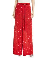 Valentino - Rosebud-print Wide-leg Silk Pajama Pants - Lyst