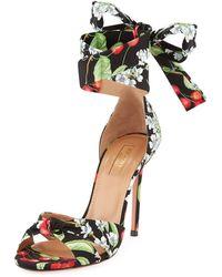 Aquazzura - All Tied Up Floral-print Sandal - Lyst