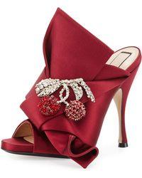 N°21 - Cherry-embellished Satin 100mm Mule Sandals - Lyst