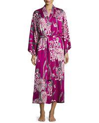 Natori Aziome Floral-print Long Robe Purple Pattern