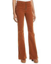 Veronica Beard - Beverly Skinny Flared Corduroy Pants W/ Button Fly - Lyst