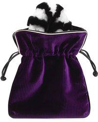 Les Petits Joueurs - Trilly Velvet Fur-handle Pochette Clutch Bag - Lyst