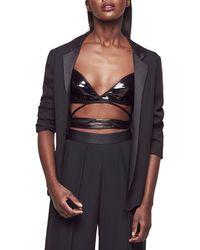 faa316ceb770f6 Lyst - Fleur du Mal Leather Silk Lined Triangle Bra in Black