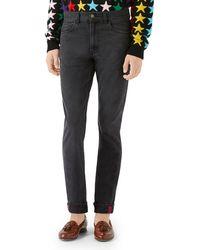 Gucci Cuffed Slim-leg Denim Pants - Black