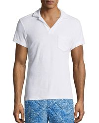 Orlebar Brown Terry Towel Polo With Pocket - White