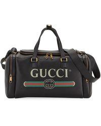 Gucci Men's -print Leather Duffel Bag - Black
