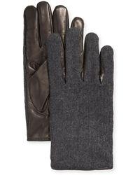 Portolano Men's Leather-palm Cashmere Gloves - Black