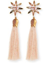 Sequin - Floral Crystal Tassel Earrings - Lyst