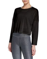 Beyond Yoga - Off Cuff Perforated Long-sleeve Cropped Pullover - Lyst