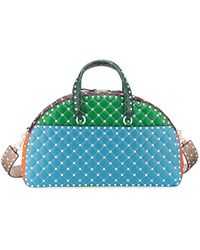 Valentino Rockstud Quilted Zip-around Bowling Bag - White