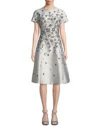 Teri Jon Short-sleeve 3d Floral-embroidered Jacquard A-line Dress - Multicolour