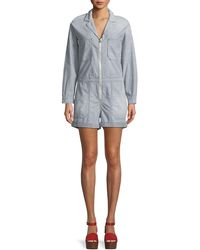 AG Jeans | Rochelle Zip-front Long-sleeve Striped Chambray Romper | Lyst