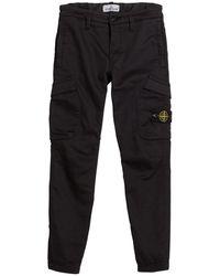 Stone Island Straight Leg Cargo Pants - Black