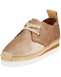 See By Chloé - Scalloped Metallic Leather Platform Sneaker - Lyst