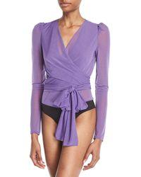 Diane von Furstenberg Wrap-effect Jersey Bodysuit Lavender - Purple
