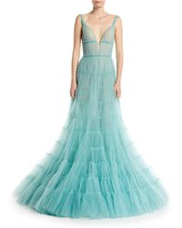 J. Mendel - Deep-v Tiered Tulle Evening Gown - Lyst