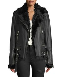 Nour Hammour Shearling-lined Lace-up Sides Lamb Leather Jacket - Black