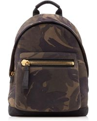 Tom Ford Men's Camouflage-print Leather Backpack - Black