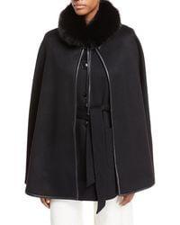 Sofia Cashmere - Cashmere Vest & Detachable Cape W/ Fur Collar - Lyst