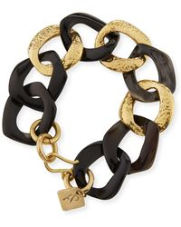 Ashley Pittman - Salama Dark Horn & Bronze Link Bracelet - Lyst