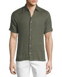 Z Zegna - Linen Short-sleeve Sport Shirt - Lyst