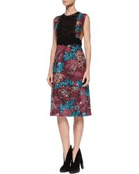 Burberry Brit - Printed Lace and Cotton-blend Dress - Lyst