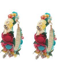 Ranjana Khan - Beaded Flower Hoop Earrings - Lyst