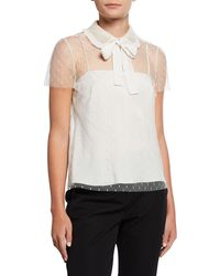 RED Valentino Peter Pan Collar Short-sleeve Point D'esprit Top - White