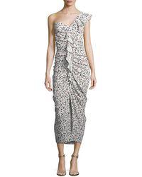 Veronica Beard - Ruffian One-shoulder Floral-print Midi Dress - Lyst
