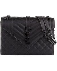 010e5e28637 Saint Laurent Jamie Medium Ysl Python Patchwork Shoulder Bag in Brown - Lyst
