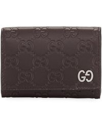 Gucci Signature Leather Card Case - Brown