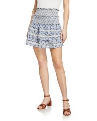 Love Sam - Antoinette Smocked Floral Lace Mini Skirt - Lyst