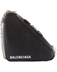 Balenciaga - Triangle Leather Chain Shoulder Bag - Lyst