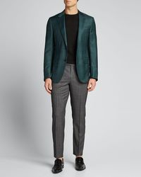 Ermenegildo Zegna Men's Plaid Wool-silk Sport Jacket - Green