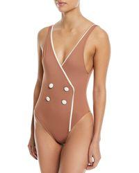 The Juliette Wrap-effect Swimsuit - Beige Solid & Striped Cheap Sale Best Store To Get s17TkGb8F