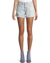 Rag & Bone - Justine High-rise Frayed Denim Shorts - Lyst