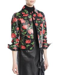 Michael Kors - Stemmed Rose-print Plonge Lamb Leather Jacket - Lyst